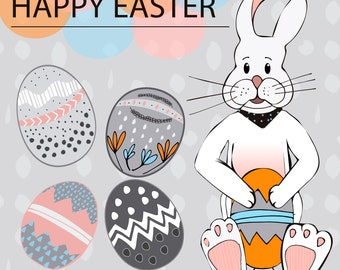 Happy Easter Print // Easter bunny // Easter eggs// Easter Decor // Easter wall art // Easter banner // pdf and jpf file