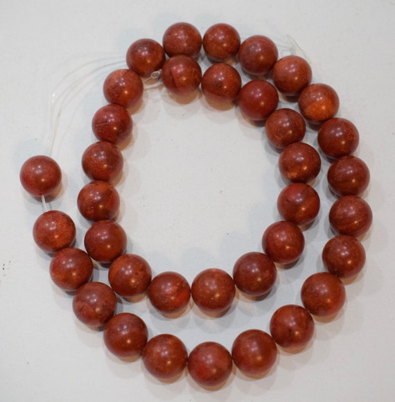 Beads Red Apple Coral Round Vintage Beads 12mm
