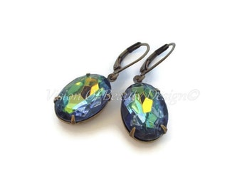 Vintage Swarovski Vitrail Rhinestone Earrings, Clip On Available