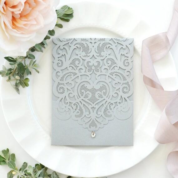 DIY Lace Laser Cut Pocket Invitation - Laser Cut Wedding Invitation - Lace Laser Cut Invitation w/ Pocket - Do It Yourself Pocket Invitation