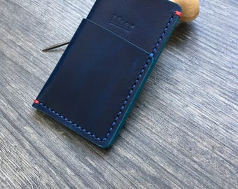 Handmade leather card holder - Blue