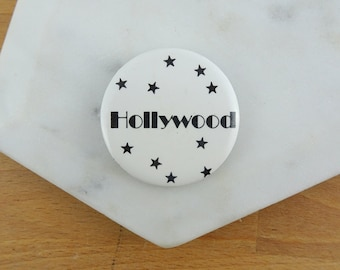 Vintage Hollywood Souvenir Pin / Button Badge | Hollywood California 1980's