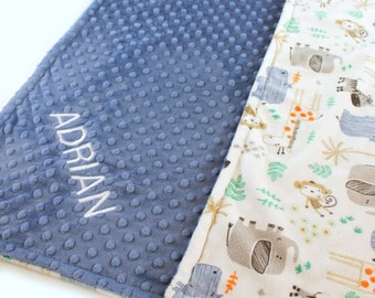 Personalized Blanket, Baby Boy Minky Baby Blanket, Baby Gift, safari Blue Gray Jungle Animal Blanket, Custom Baby Blanket, Receiving Blanket