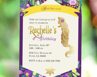 Princess Rapunzel Birthday Invitation | Tangled Party Invitation | Purple Golden Sun Hair Flower Silhouette | Digital Printable Invitation