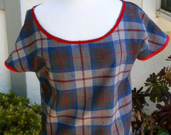 Wool Blouse in Small with a Vintage check pattern