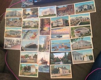 Lot Of 25 Vintage Postcards- Different States And Buildings