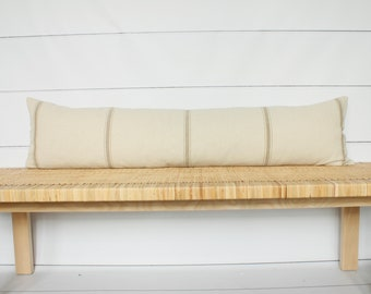 Vintage French Grain Sack Lumbar Pillow | 12x48 | No309