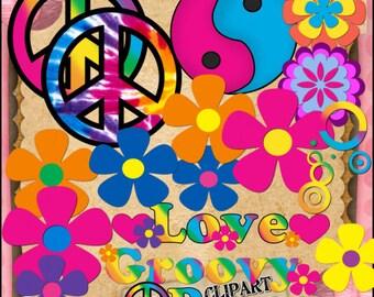 Groovy Sixties 60's Set Clipart (Digital Download ZIP File)