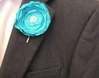Aqua Boutonniere, Wedding Prom Fabric Flower Shabby Chic Buttonhole, Groom Groomsman Turquoise Lapel Pin