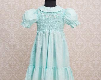 Polly Flinders Girls Aqua Blue Hand Smocked Dress