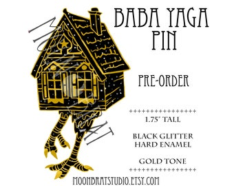 PREORDER Witch Pin - Baba Yaga Enamel Pin - Haunted House Fairy Tale Folklore Horror Black Glitter Russian Folk Tale Creepy Gingerbread