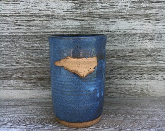 Pottery mug, NC mug, blue mug, North Carolina mug, I love NC mug, blue coffee mug, coffee mug, handmade pottery mug made in North Carolina