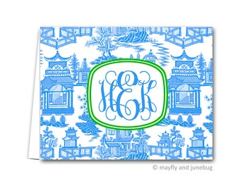 Chinoiserie Blue Personalized Monogram Folded Notes