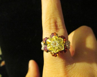 Ring - Swarovski Crystal - yellow over red/blue, size 9-9.5
