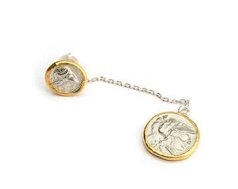 Gold Coin Earring | 24K Gold Earring | Drop Earring | Gold Plated Earring | Silver Coin Stud Earring | Dangle Earring Sets |Two Tone Earring