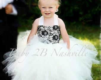 Vintage Dress Ivory Dress Black Lace Dress Flower Girl Dress Wedding Dress Baby Dress Tutu Dress Toddler Dress Tulle Dress Party Dress Girls