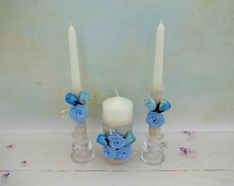 Blue Unity Candles Set, Blue Wedding Candles, Blue Rustic Unity Candles, Beach Wedding Unity Candles, Unity Ceremony,  Pillar Candles,