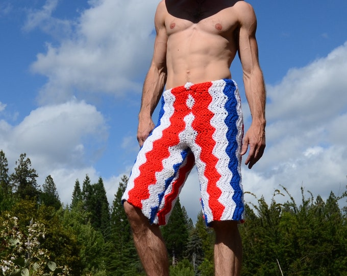 Crochet Shorts Red White and Blue Board Shorts 4th of July