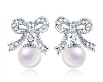 Silver Ribbon Pearl Earrings