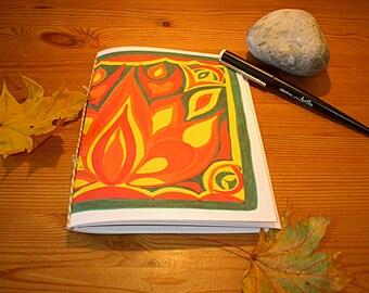 """Notebook, A5, """"Lotus"""", booklet, sketchbook, exercise book, diary, travel diary, lotus, mandala,handmade,handwriting,yoga,gratitude journal"""