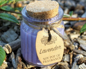 Soy Wax Candles lavender in glass with cork lid