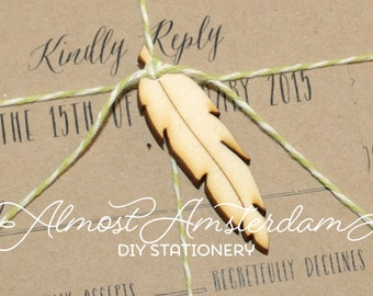 Feather charms for invitations - feather invitation - tribal invitation - teepee invitation - wigwam invitation - nature invitation