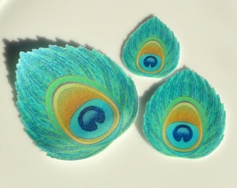 Edible Peacock Feather Eye Art Deco Blue Turquoise Iridescent Wafer Paper Glam Wedding Cake Decoration Cupcake Cookie Toppers Unique Favours