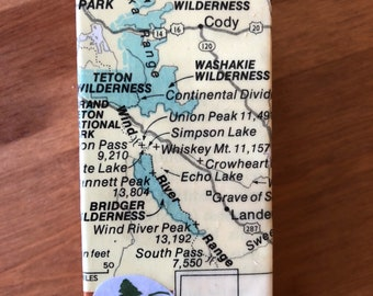 Wyoming Map Collage Wooden Magnet