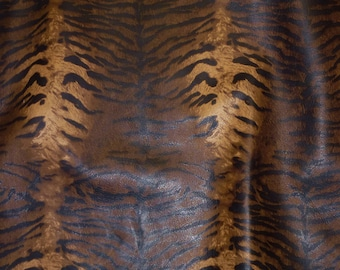 """Leather 8""""x10"""" Zebra / Tiger Caramel Brown BLACK (not hair on) Striped Cowhide 2.5-3 oz / 1-1.2 mm PeggySueAlso™ E6660-01 limited"""