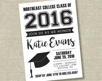 Graduation invitation, college graduation invitation, high school graduation invitation, black graduation invitation