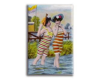 Beach Accessory | Pocket Mirror | Beach Scene Magnet | Vintage Bathing Suit | Collectible Magnet | Lesbian couple