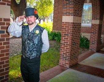 Black and Silver Vest, Men's Victorain Vest, Steampunk, Victorian, Renaissance, Pirate, Halloween, Costume, Victorian Vest, Dickens, Wedding