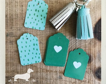 DOLLAR DEAL! Pickled Heart. Gift Tags -- (Green, Valentine, Birthday Gift Wrap, Favor Tags, Simple, Bridal Shower, Baby Shower, Mint, Cute)