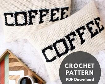 Coffee Pillow Crochet Pattern/Crochet Pillow/Fair Isle Pillow Pattern