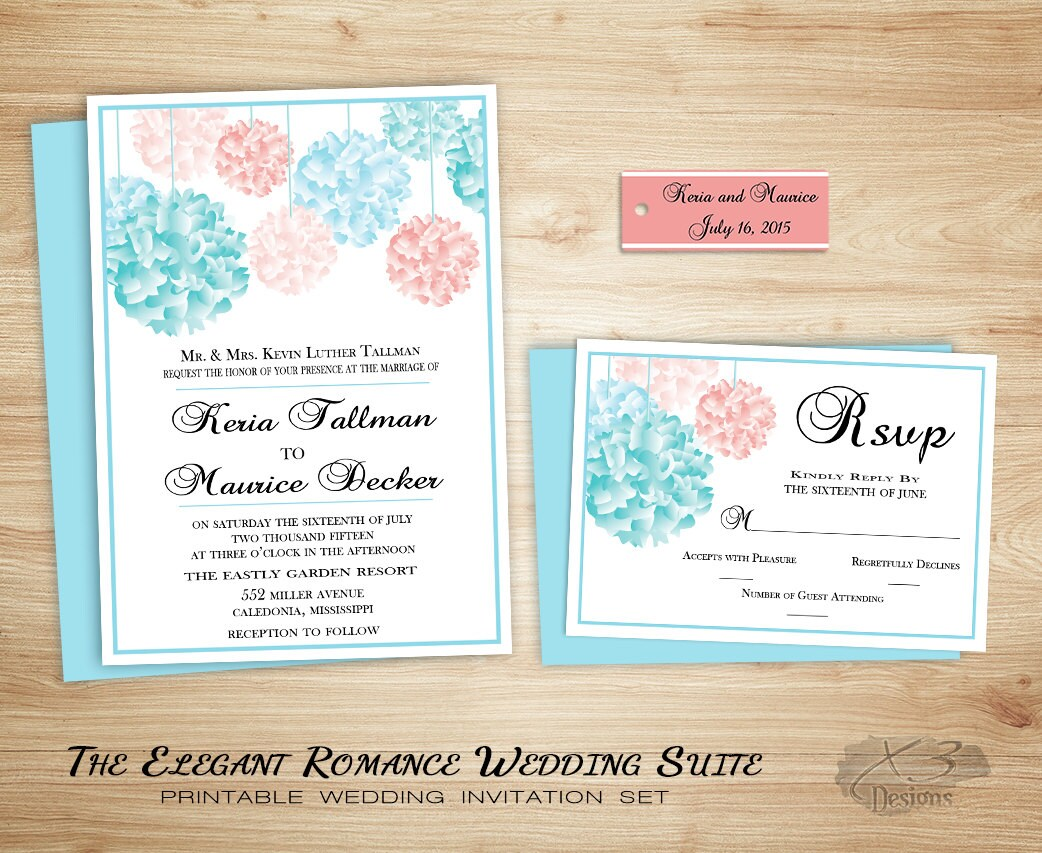 Country Wedding Invitation Rustic Wedding Invitation Garden