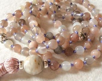 Moonstone Mala Necklace, 108 Mala Beads, Meditation Beads, Yoga Mala, Buddhist Mala Necklace, Prayer Bead, Tibetan Mala, Japa Mala