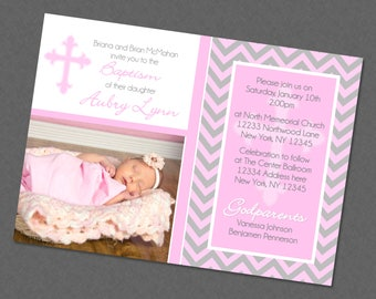 Sweet Chevron Girl Baptism Invitation , Cross Baptism Invites , Baptism Photo Invitations , Baptism Picture Invite , Pink , Any Color