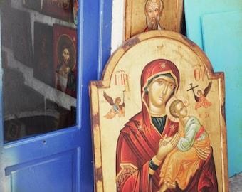 "Colorful Greece print -  street photograph - icon painting - window art print - orthodox virgin mary - aqua gold teal indigo  ""Icon at Door"""
