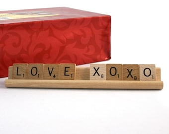 LOVE XOXO Scrabble Letters Sign RECYCLED