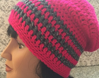 Adult slouch hat, Bright Pink with Gray Stripes, Sparkles, Soft