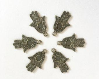 3 Hamsa Charms - Antiqued Bronze Finish