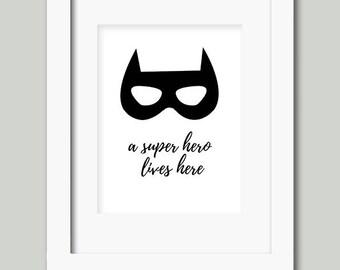 8x10 super hero print wall art boys decor batman mask