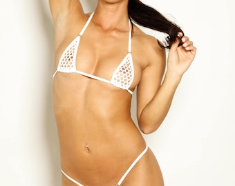 Bitsy's Bikinis Micro Bikini G-String - White Athletic Fishnet with White String and Silver Rings - See Through