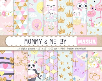 Nursery Digital Paper Pack, Mommy and Me Digital Papers, Baby Animal Pattern, Mother Digital Paper, Baby Planner Stickers, Baby Patterns
