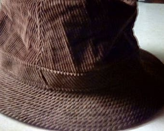 Vintage Corduroy Men's Hat Brown 1950's Young An Korea Large 7 1/4 7 3/8
