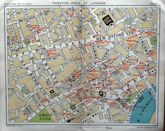 Vintage LONDON West End Street Plan THEATRES SHAFTESBURY Ave Antique Map c1910