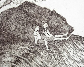Sleeping Bear Bluff -  Limited Edition Hand-Pulled Intaglio Etching Print from Copperplate - Legend of the Sleeping Bear -Book Illustration