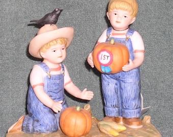 """Denim Days """"The Prize Pumpkin"""" HOMCO Home Interiors Ceramic Figurine #1531 1997"""