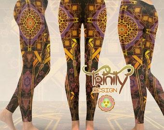 Yoga Leggings Printed Leggings Festival Leggings Yoga Pants Pixie Leggings Psytrance Sacred Geometry Psychedelic Clothing Festival Clothing