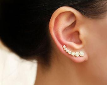Silver ear climber, gold earrings, ear crawler, ear cuff, Sterling Silver earrings, gold ear cuff, Ear Climbers, ear crawler earrings, gifts